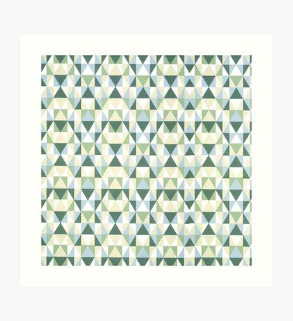 Geometric Blue and Green Triangles Repeating Artwork Art Print