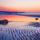 Cold storage beach sunset at low tide by bettywiley