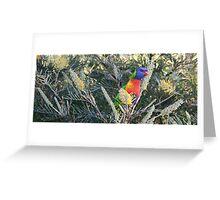 Australian Rainbow Lorikeet on Grevillea Greeting Card