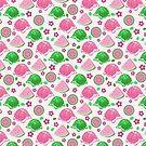 Pink Green Watermelon Turtles Pattern by SaradaBoru