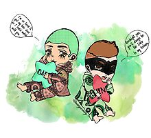 Chibi Joker Zayn & Batman Liam Photographic Print