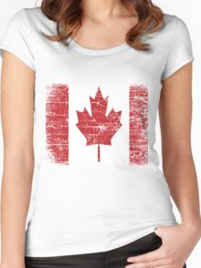 Vintage Canada Flag T Shirt design Women's Fitted Scoop T-Shirt