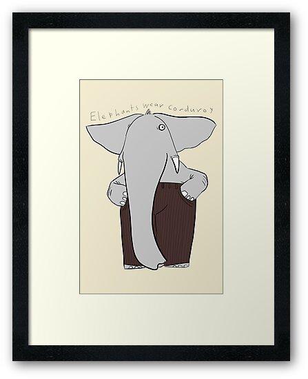 elephants wear corduroy [print] by Paul McClintock