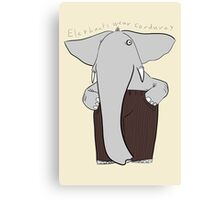 elephants wear corduroy [print] Canvas Print