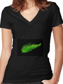 Green feather Women's Fitted V-Neck T-Shirt