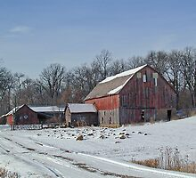 Old Red Barn and Sheds in the Snow by livinginoz