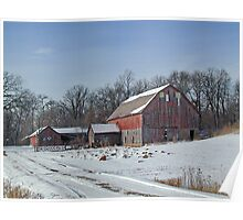 Old Red Barn and Sheds in the Snow Poster
