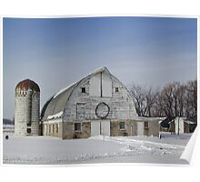 Winter Holiday White Barn with Wreath Poster