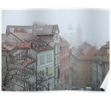 The snow falling on Prague Poster