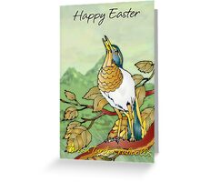 Easter Card With Digitally Painted Thrush Greeting Card