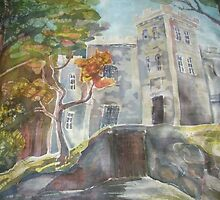 Glehn's Castle (silk painting, 2009) by SingingScarves