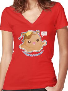 Cute Flapjack Octopus Women's Fitted V-Neck T-Shirt