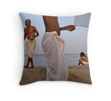 Pilgrims. Varanasi Throw Pillow