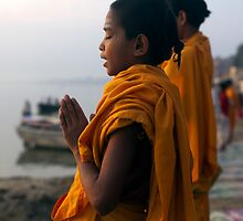 Morning Puja. Varanasi by Claude  Renault