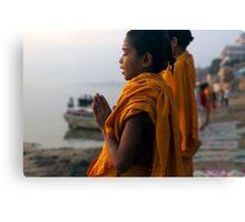 Morning Puja. Varanasi Canvas Print