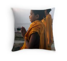 Morning Puja. Varanasi Throw Pillow