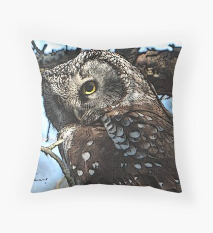 BO = Boreal Owl Throw Pillow