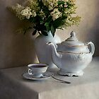 Still life with white tea set and bouquet of white flowers by JBlaminsky