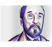 Bearded Old Man Made Of Red And Blue Lines Poster