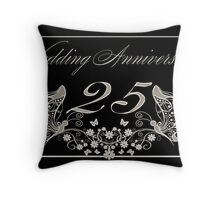 25th Anniversary Card Silver Anniversary Throw Pillow