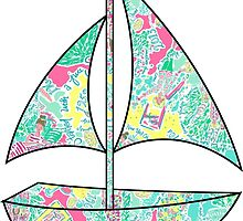 Lilly Pulitzer Inspired Sailboat In the Beginning by mlr28blu