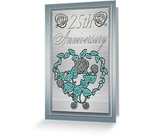 25th Silver Wedding Card Silver And Metalic Blue Greeting Card
