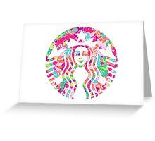 Starbucks Logo Flamingos Lilly Pulitzer Lulu Greeting Card