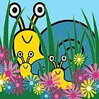 Peek-A-Boo Snails Card by Louise Parton