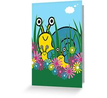 Peek-A-Boo Snails Card Greeting Card