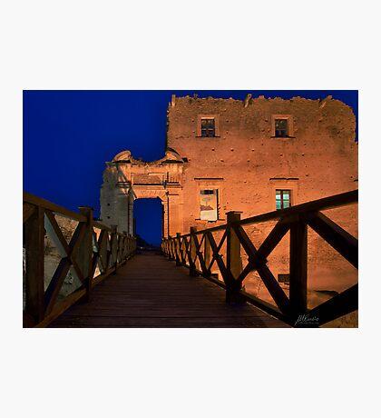 Bridge leading to abandoned castle Photographic Print