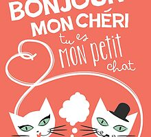 Bonjour Love Cat Print by meowmeows