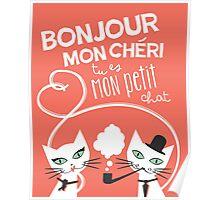Bonjour Love Cat Print Poster