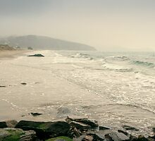 Winter Days at Pentewan Beach,Cornwall by Laura Davey