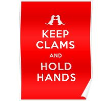 Keep Clams and Hold Hands (Otters Holding Hands) Poster