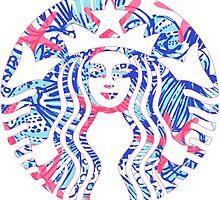 Starbucks Logo Mermaid Starfish Sea Shells by Seaweed4