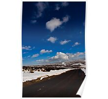 Snowy Scottish landscape with a road Poster