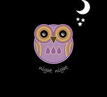 Night Night Purple Owl Card by Louise Parton