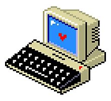 8 BIT Computer - Love Heart Photographic Print