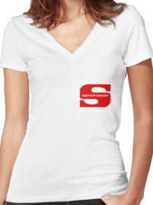 Department S (small cutout) Women's Fitted V-Neck T-Shirt