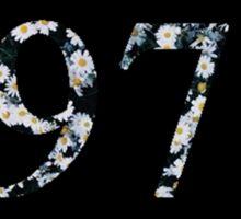 floral 1975 design black Sticker
