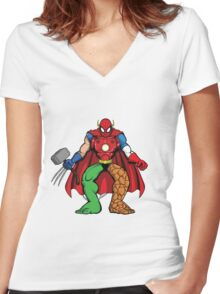 Mashup: Heroes Women's Fitted V-Neck T-Shirt