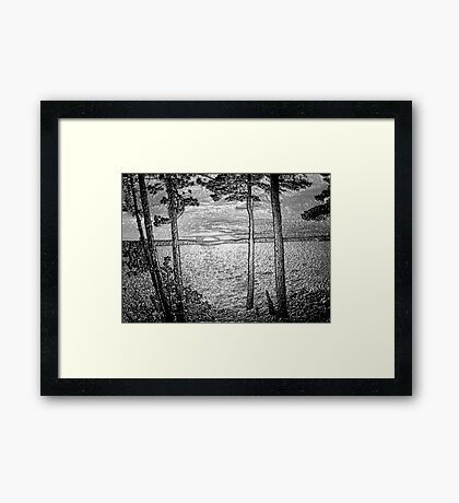 Sunset At The Lake - Embossed-Available As Art Prints-Mugs,Cases,Duvets,T Shirts,Stickers,etc Framed Print
