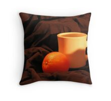 Orange and cup the begining Throw Pillow