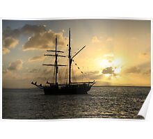 Tall-ship at sunset Poster