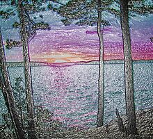 Lake Sunset-Colour Embossed -Available As Art Prints-Mugs,Cases,Duvets,T Shirts,Stickers,etc by Robert Burns