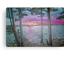 Lake Sunset-Colour Embossed -Available As Art Prints-Mugs,Cases,Duvets,T Shirts,Stickers,etc Canvas Print