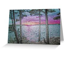 Lake Sunset-Colour Embossed -Available As Art Prints-Mugs,Cases,Duvets,T Shirts,Stickers,etc Greeting Card