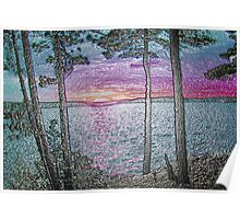 Lake Sunset-Colour Embossed -Available As Art Prints-Mugs,Cases,Duvets,T Shirts,Stickers,etc Poster