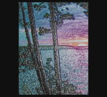 Lake Sunset-Colour Embossed -Available As Art Prints-Mugs,Cases,Duvets,T Shirts,Stickers,etc Kids Clothes