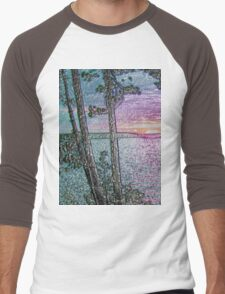 Lake Sunset-Colour Embossed -Available As Art Prints-Mugs,Cases,Duvets,T Shirts,Stickers,etc Men's Baseball ¾ T-Shirt